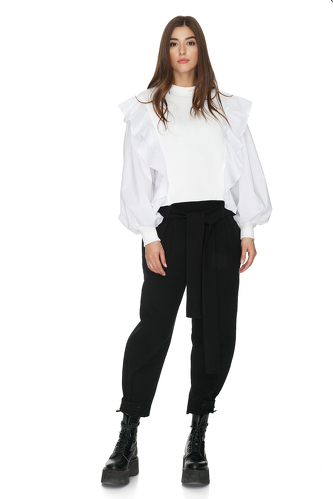 White Blouse With Side Ruffles - PNK Casual