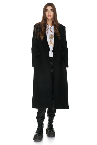 Black Cutout Wool Coat - PNK Casual