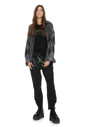 Grey Checkered Shirt With Messages On The Back - PNK Casual