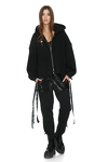 Black Cotton Cutout Hoodie With Message On The Back