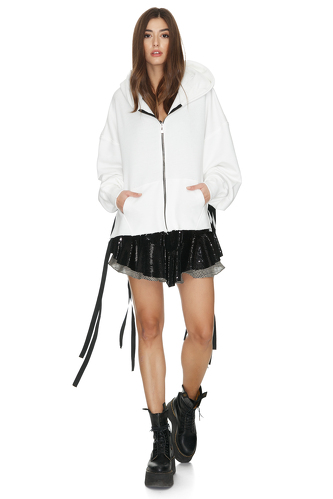 White Cotton Cutout Hoodie With Message On The Back - PNK Casual