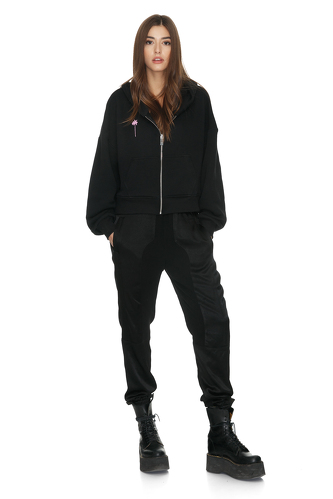Black Cotton Hoodie With Message On The Back - PNK Casual