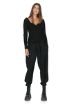 Black Cotton Rib Bodysuit With Long Sleeves