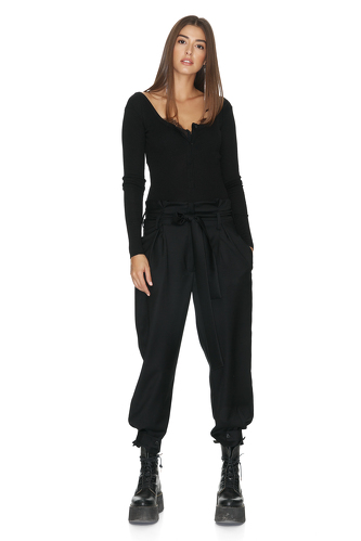 Black Cotton Rib Bodysuit With Long Sleeves - PNK Casual