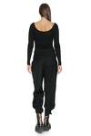 Black Cotton Rib Bodysuit With Long Sleeves