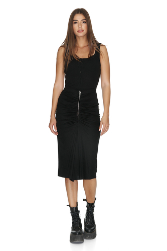 Black Viscose Midi Skirt With Zipper detail - PNK Casual