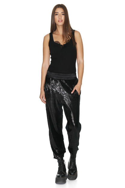 Cotton Rib Black Bodysuit