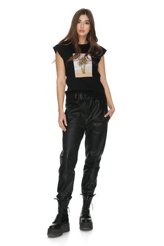 Ribbed Cotton Black Printed T-shirt - PNK Casual