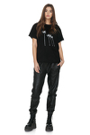 Black Cotton T-Shirt With Palm Trees Printed
