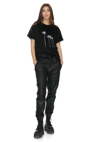 Black Cotton T-Shirt With Palm Trees Printed - PNK Casual