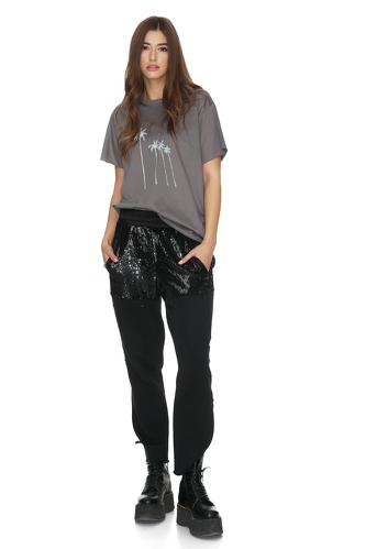 Black Cotton-Sequin Pants - PNK Casual