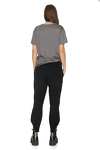 Black Cotton-Sequin Pants