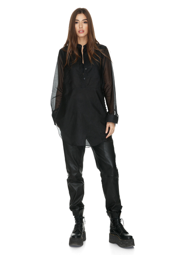 Black Cotton Shirt With Buttons on the Side - PNK Casual