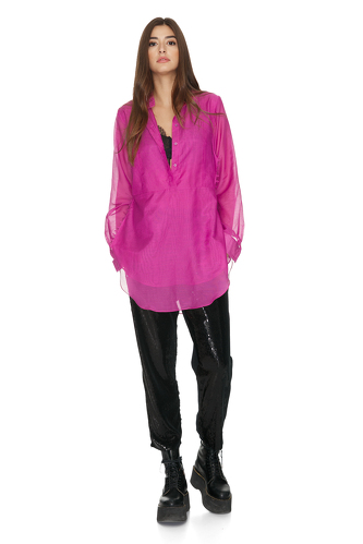 Fuchsia Cotton Shirt With Buttons on the Side - PNK Casual