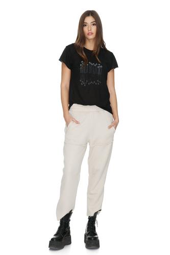 Beige Cotton Track Pants - PNK Casual