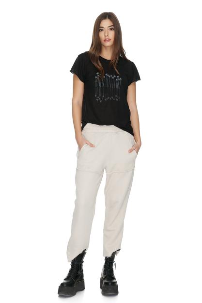 Beige Cotton Track Pants