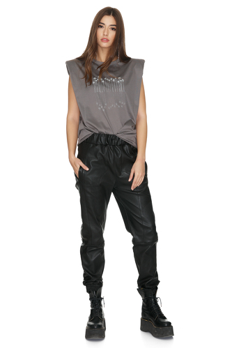 Black Leather Pants With Elasticated Waistband - PNK Casual