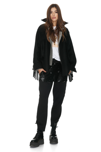 Wool Fringed Black Jacket - PNK Casual