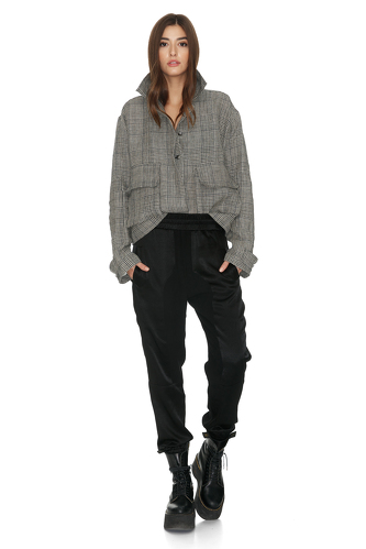 Black Viscose Track Pants With Elasticated Waistband - PNK Casual