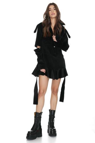 Velvet Ribbed Cutout Mini Dress - PNK Casual