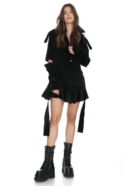 Velvet Ribbed Cutout Mini Dress