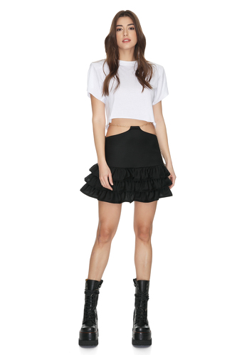 Black Ruffled Wool Mini Skirt With Chain Detail at the Waist - PNK Casual