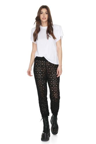 Black Cotton-Lace Pants - PNK Casual