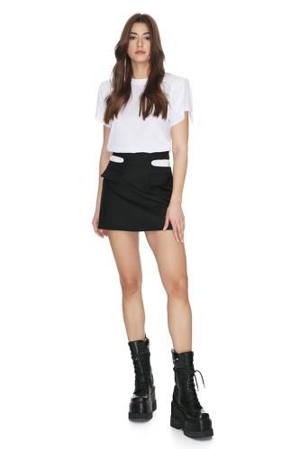 Black Cropped Waist Wool Mini Skirt - PNK Casual