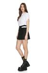 Black Cropped Waist Wool Mini Skirt