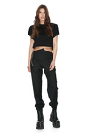Black Wool Pants With Chain Detail at the Waist