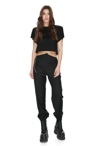 Black Wool Pants With Chain Detail at the Waist - PNK Casual