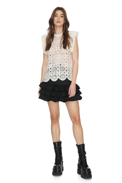 Off-White Cotton Crocheted Lace Blouse