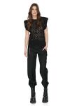 Black Cotton Crocheted Lace Blouse