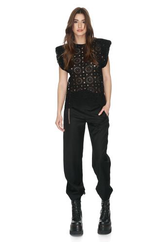 Black Cotton Crocheted Lace Blouse - PNK Casual