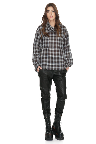 Grey Checkered Distressed Blouse - PNK Casual