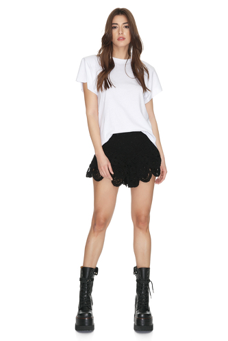 Black Crocheted Cotton Lace Shorts - PNK Casual