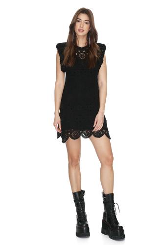 Black Crocheted Cotton Lace Dress - PNK Casual