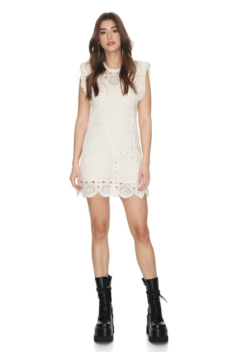 Off-White Crocheted Cotton Lace Dress - PNK Casual
