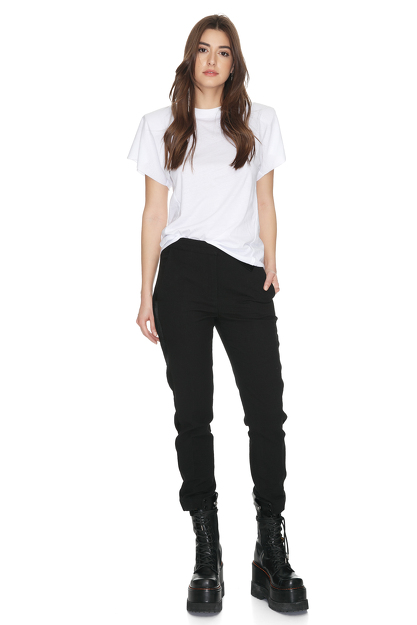 Black Cotton Pants With Side Detail