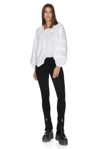 White Oversize Pleated Sleeves Blouse - PNK Casual