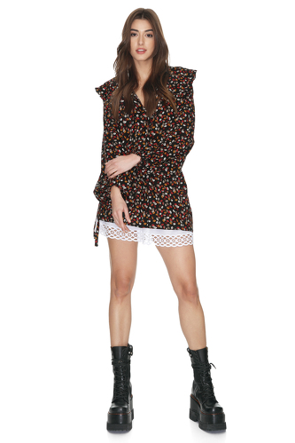 Floral Print Dress With Skirt Lining - PNK Casual
