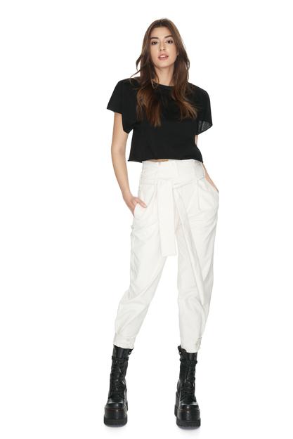 Belted White Velvet Ribbed Pant