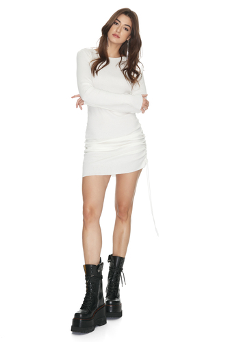 White Mini Cotton Dress With Side Detail - PNK Casual