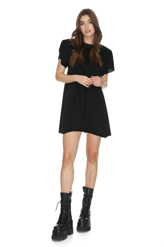 Black Mini Dress With Oversized Shoulders - PNK Casual