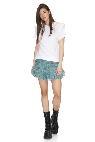 Cotton Ribbed White Top With Oversized Shoulders - PNK Casual