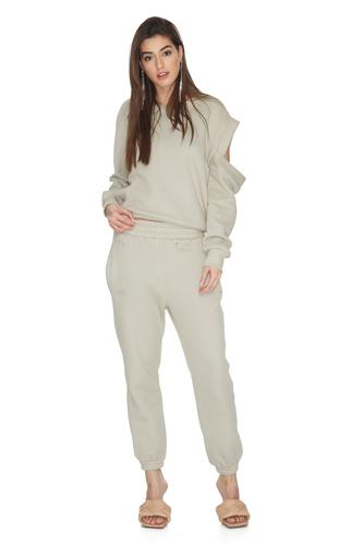 Grey-Green Cotton Cutout Blouse - PNK Casual
