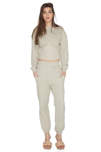 Grey-Green Ribbed Cotton Hem Blouse - PNK Casual