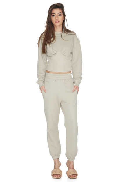 Grey-Green Ribbed Cotton Hem Blouse