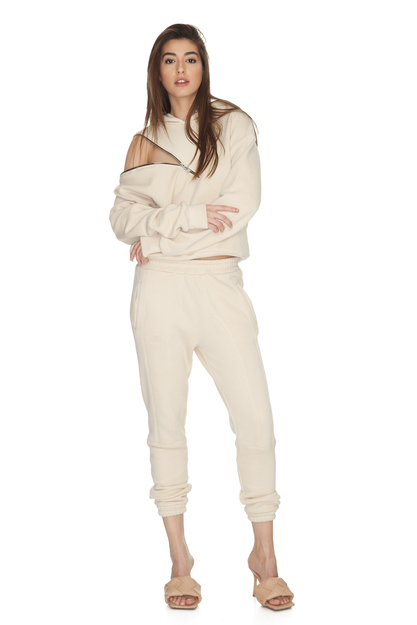 Beige Cotton Track Pants With Elasticated Waistband