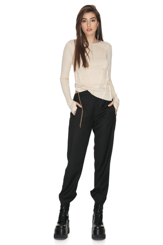 Beige Cotton Blouse With Front Details - PNK Casual